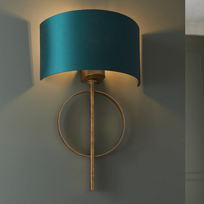 Crescent - Luxury Modern Circle Wall Light with Teal Shade - Gold Leaf