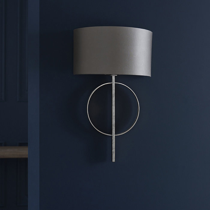 Crescent - Modern Luxury Circle Wall Light with Mink Shade - Silver Leaf