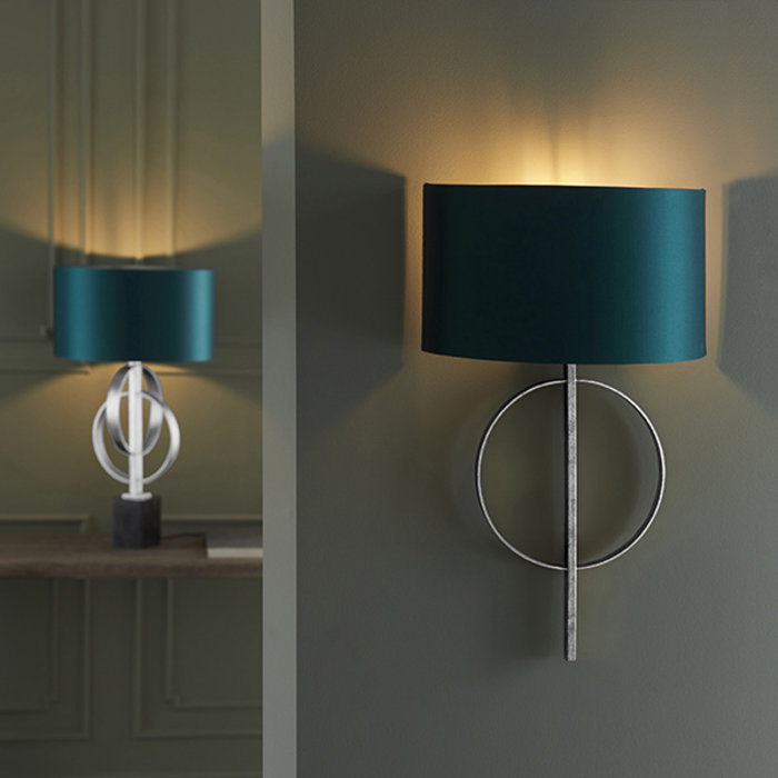 Crescent -  Luxury Modern Circle Wall Light with Teal Shade - Silver Leaf