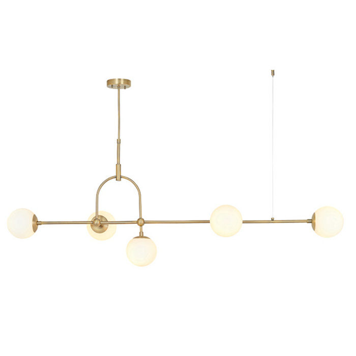 Scalby -  Matt Antique Brass Linear Pendant with Opal Glass and Adjustable Stem