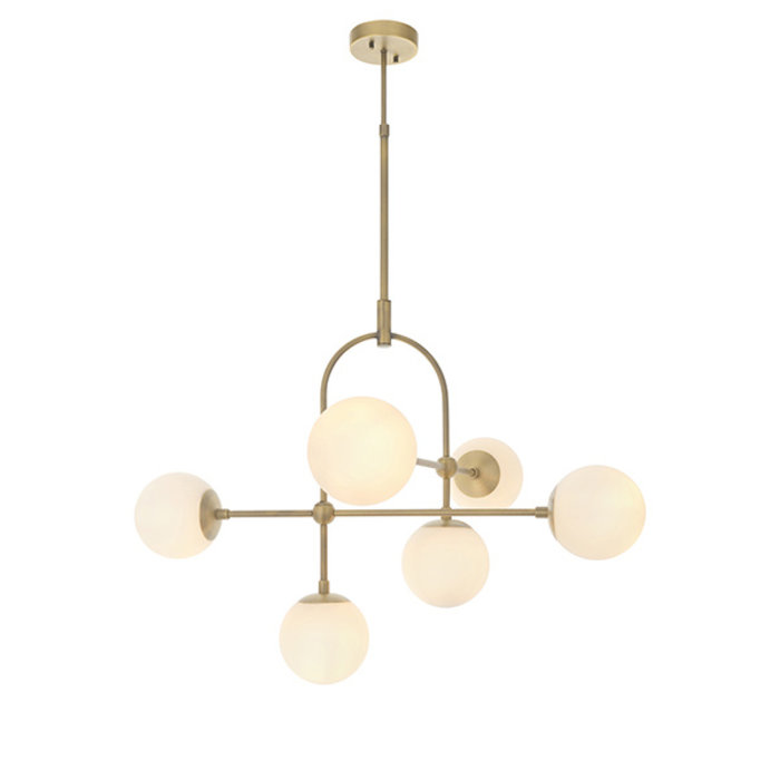 Scalby - Mid Century Feature Pendant with Opal Glass - Antique Brass