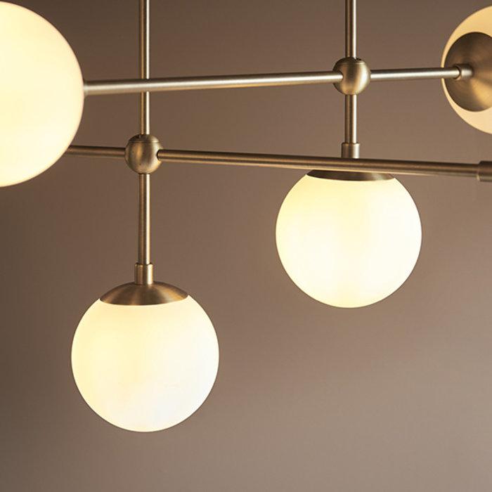 Scalby - Matt Brass Pendant with Opal Glass and Adjustable Stem