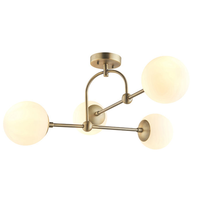 Scalby -  Mid Century Semi-Flush Ceiling Light with Opal Glass - Antique Brass