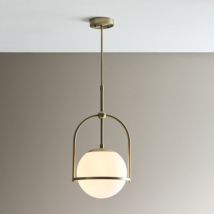 Scalby -  Matt Antique Brass Single Pendant with Opal Glass and Adjustable Stem