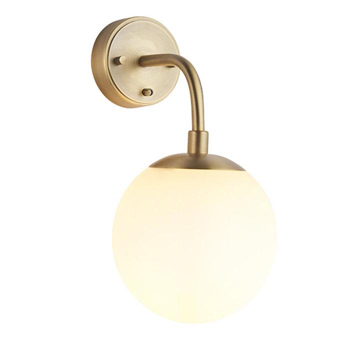 Scalby - Mid Century Modern Wall Light with Opal Glass - Matt Brass