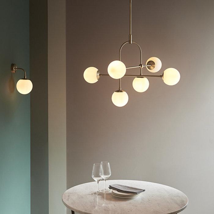Scalby -  Matt Antique Brass Wall Light with Opal Glass