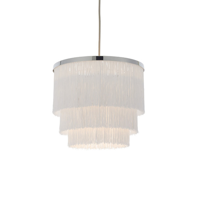Brompton -  Luxury Tiered White Fringe Feature Pendant - Medium