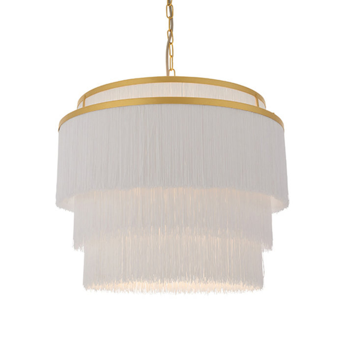 Brompton - Luxury Tiered White Fringe Feature Pendant - Large