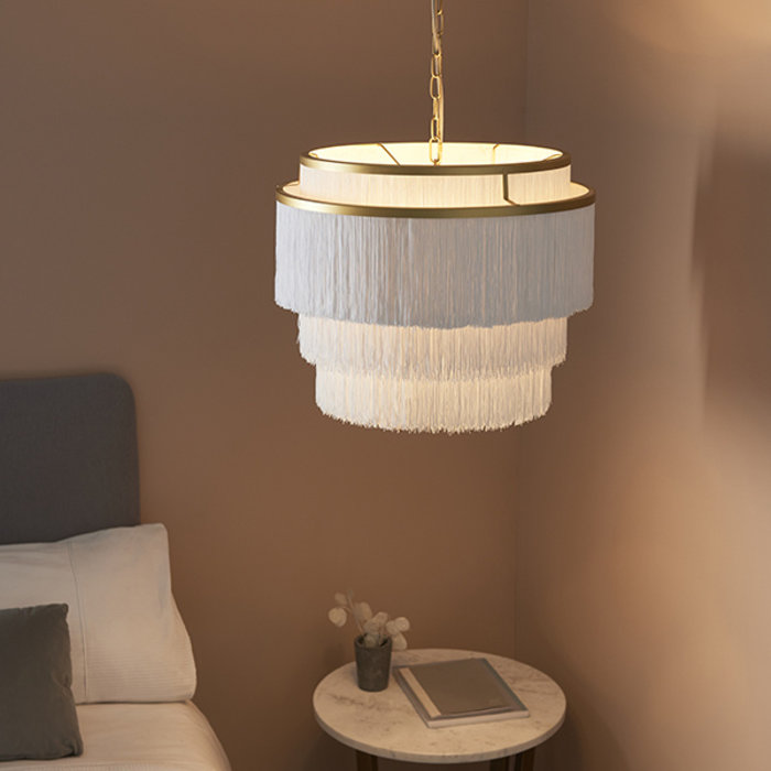 Brompton - Luxury Tiered White Fringe Feature Pendant - Large t