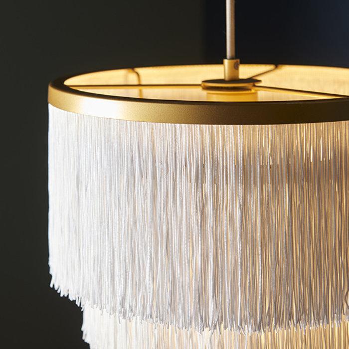 Malton - Gold with White Fringe Medium Pendant