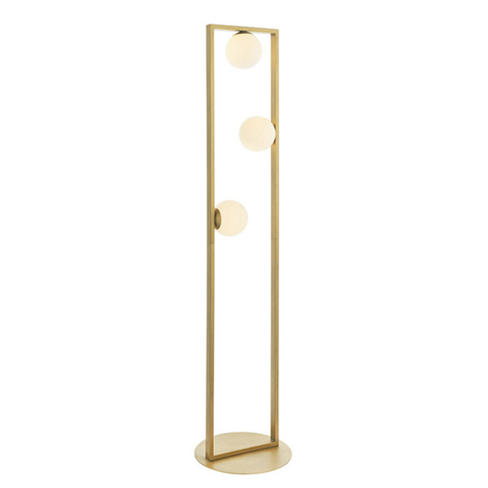 Osborne - Mid Century Modern Brushed Gold Floor Light with Opal Glass