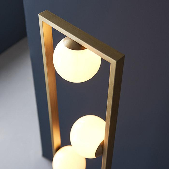 Osborne - Mid Century Modern Brushed Gold Floor Light with Opal Glass