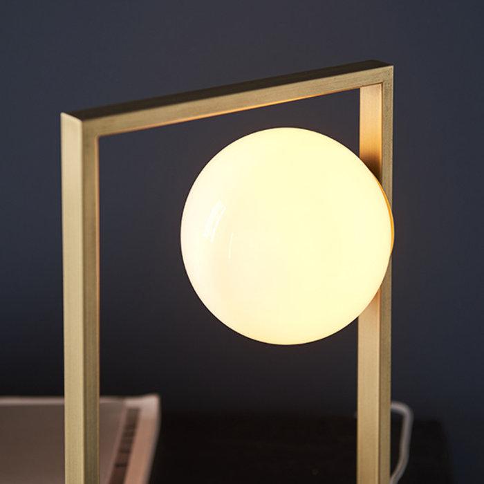 Osborne - Mid Century Modern Brushed Gold Table Light with Opal Globe