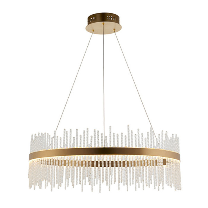 Filey - Modern LED Glass Drum Gold Statement Pendant