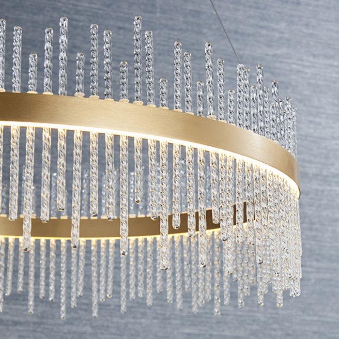 Filey - Modern LED Glass Drum Gold Statement Pendant