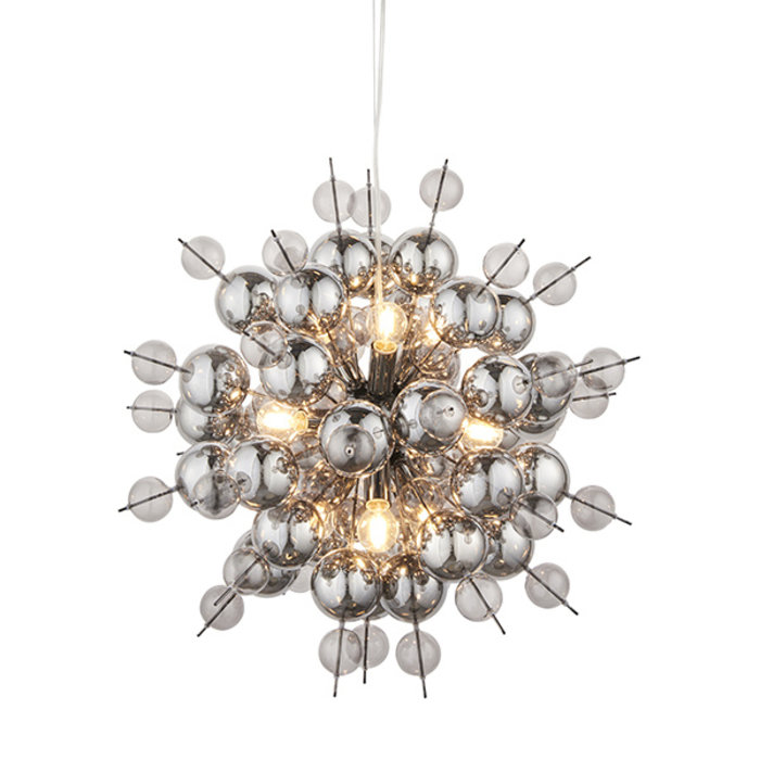 Holbeck -  Starburst Black Chrome Feature Light with Tinted Glass Spheres