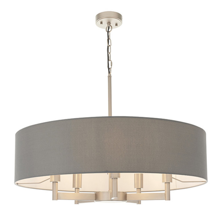 Bempton -  Large Modern Drum Pendant - Grey Shade