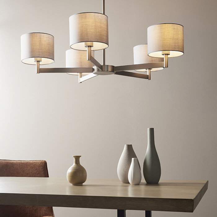 Bempton -  Large Modern Chandelier with Grey Shades