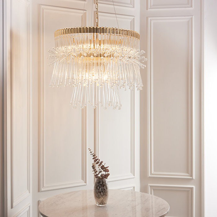 Osgodby - Tiered Glass Feature Chandelier - Gold Plated