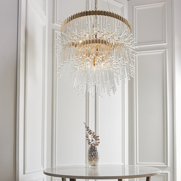 Osgodby - XL Gold Plated Chandelier with Glass Rods