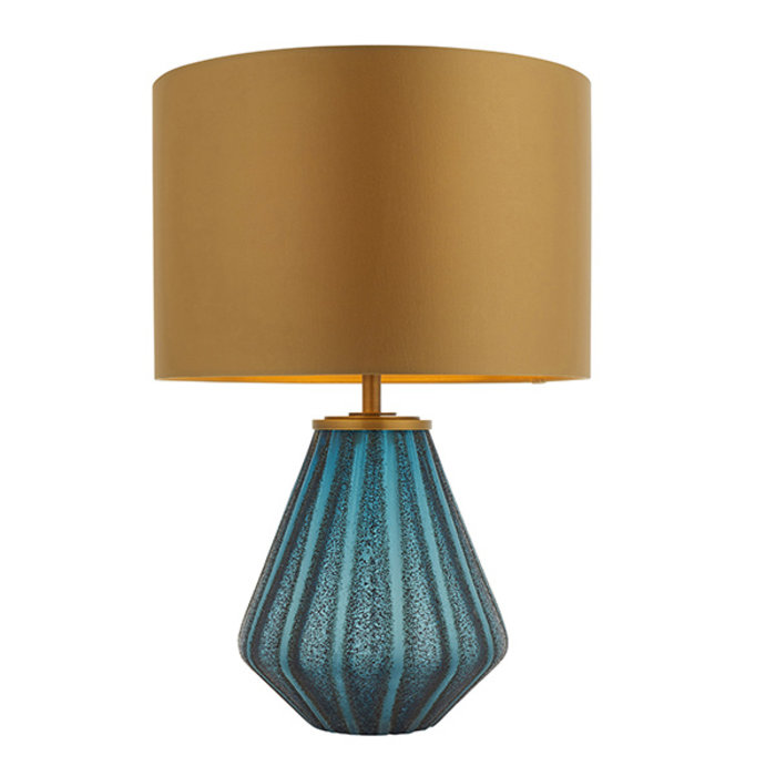 Cayton - Turquoise Glass Lamp with Gold Shade