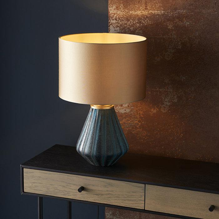Cayton - Luxury Turquoise Glass Lamp Base with Gold Shade