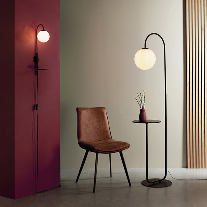Alma -  Easy Plug-in Mid Century Modern Wall Light and Shelf - Black