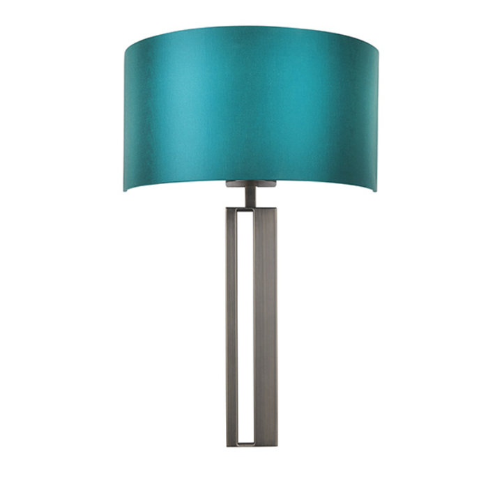 Vernon -  Bronze Slotted Wall Light with Teal Shade