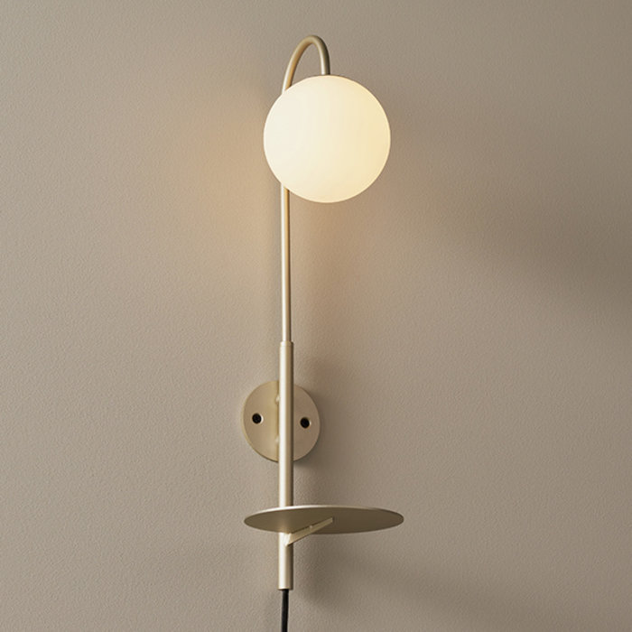 Alma - Champagne Painted Plug-in Shelf Wall Lamp with Opal Glass