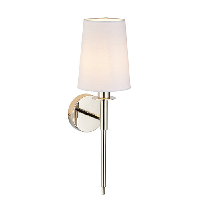 York -  Nickel Modern Wall Light with White Shade