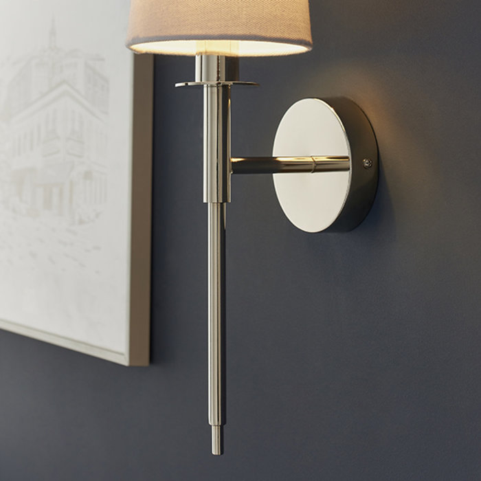 York -  Nickel Plated Wall Light with White Shade