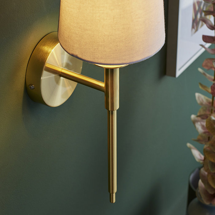 York -  Satin Brass Plated Wall Light with White Shade