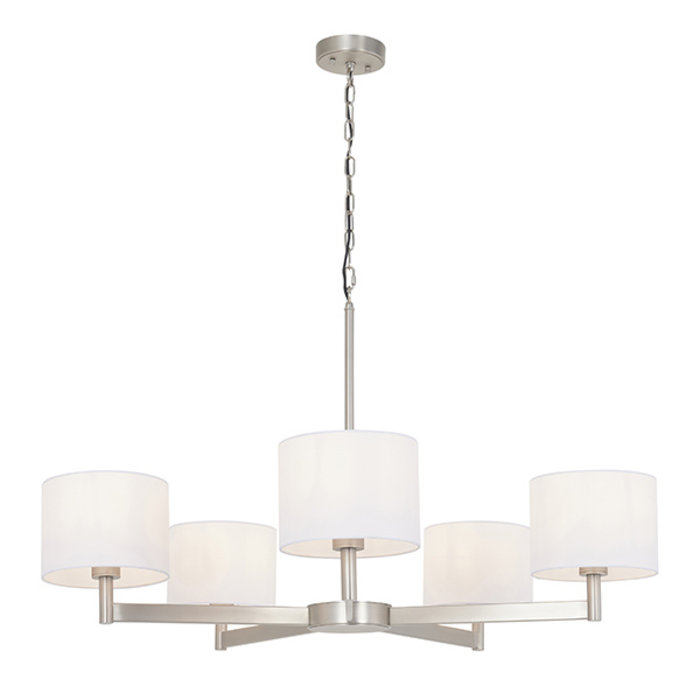 Bempton -  Large Modern Armed Chandelier with White Shades