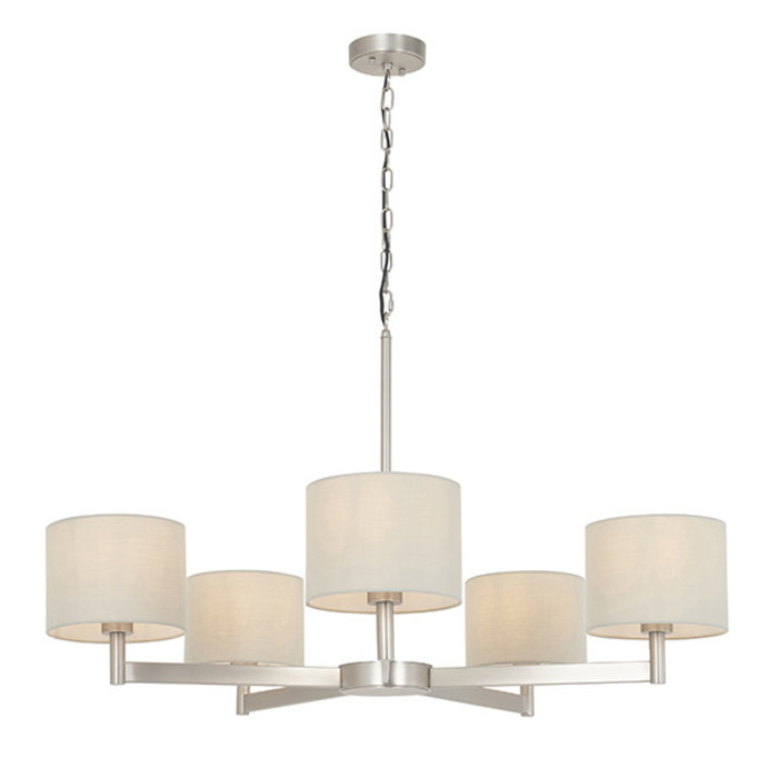 Bempton - Large Multi Arm Pendant with Taupe Shades
