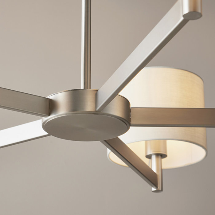 Bempton - Large Modern Armed Chandelier with Taupe Shades - Matt Nickel