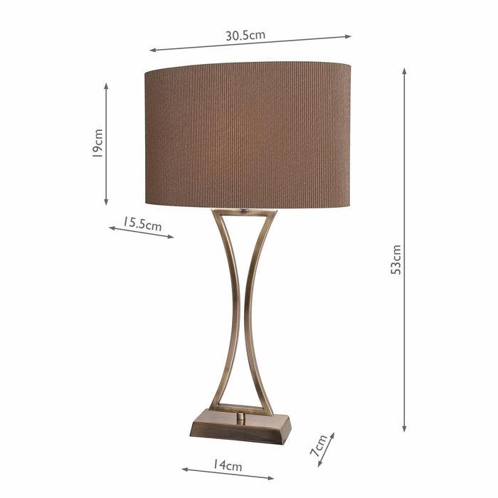 Art Deco Chrome Table Lamp - Antique Brass
