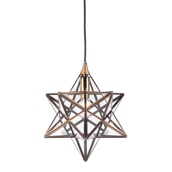 Sirius - Glass Panelled Star Pendant - Small