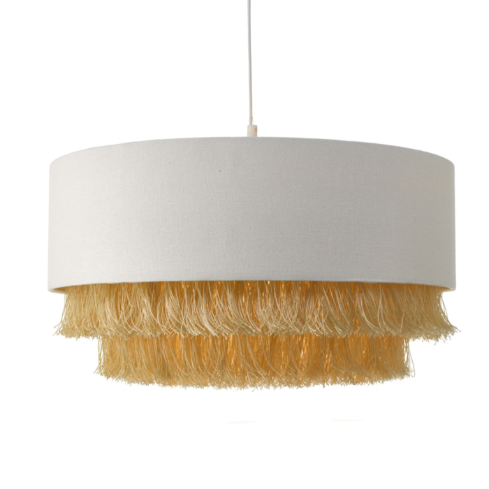 Fringe - Easy Fit Ivory Drum Pendant Shade - Gold Fringe
