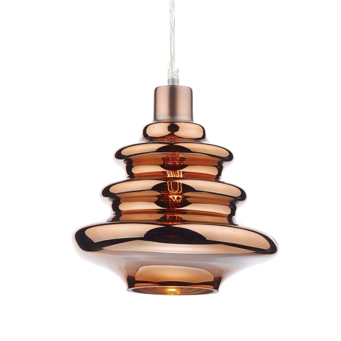 Coppered Ripple Glass Shade - Easy Fit Pendant Shade