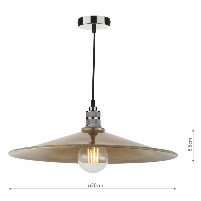 Clive - Industrial Brass Easy Fit Pendant Shade