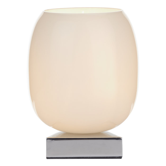 Tina - White Glass Touch Table Lamp - Polished Chrome