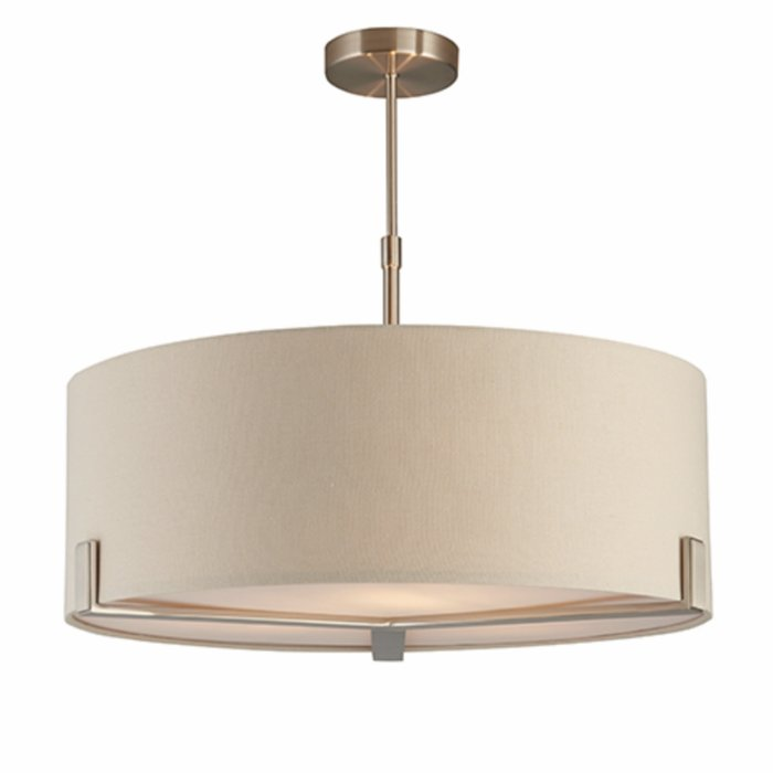 Mayfair - 3 Light Drum Hotel Style Feature Light - Soft Grey & Satin Nickel
