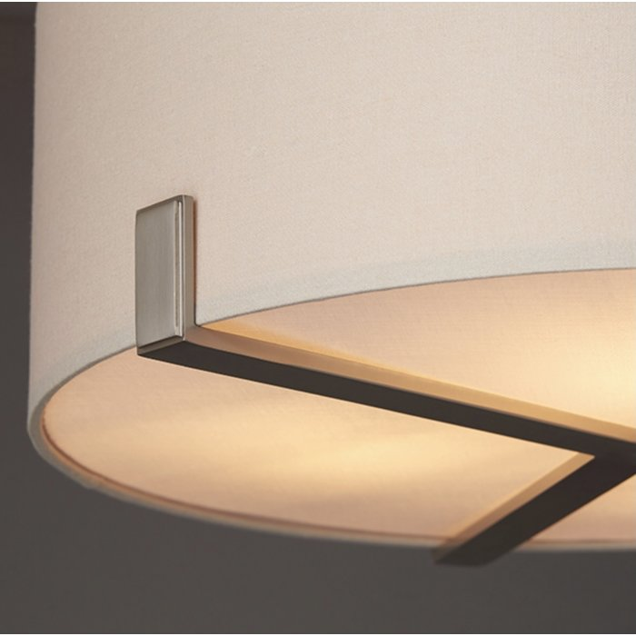 Mayfair - 3 Light Drum Hotel Style Feature Light - Soft Grey & Satin Nickel