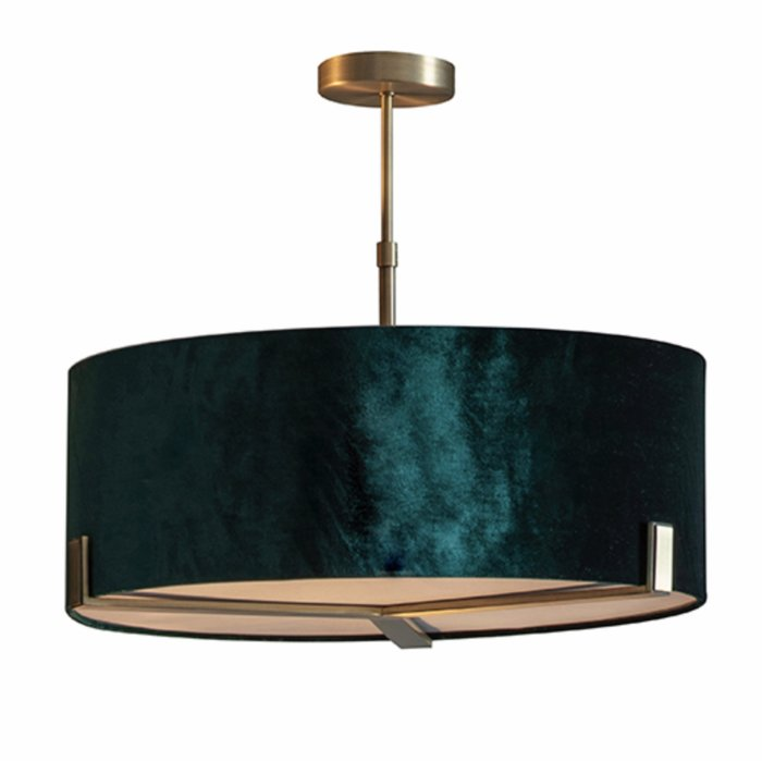 Mayfair - 3 Light Drum Hotel Style Feature Light - Green Velvet & Matt Antique Brass