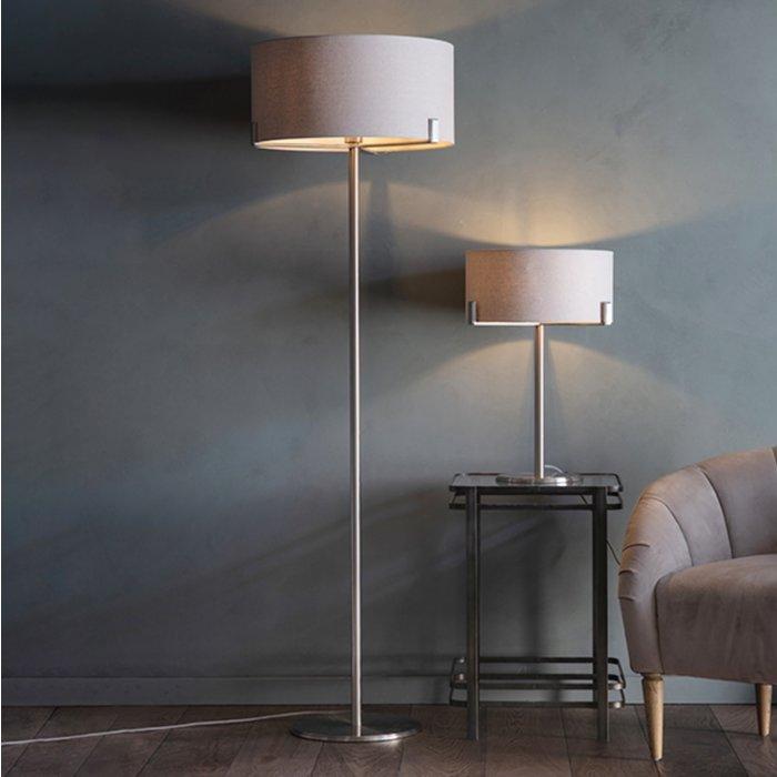 Mayfair - Modern Drum Table Light - Soft Grey & Satin Nickel