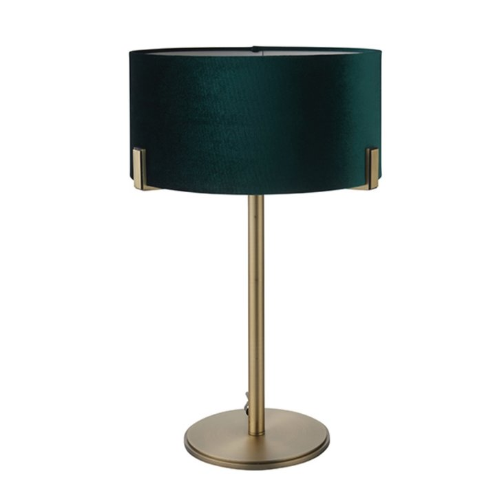 Mayfair - Luxury Modern Drum Table Light - Green Velvet & Antique Brass