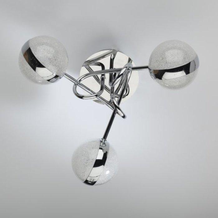 Nyma - LED 3 Light Semi Flush Sparkling Orb Ceiling Light