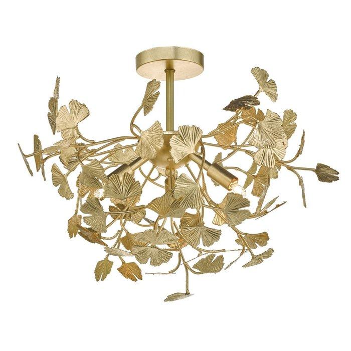 Yadira - Twisting Leaf Gold Semi Flush Ceiling Light