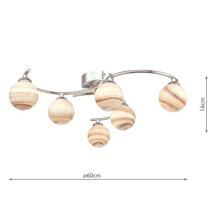 Twirl - Art Glass Low Ceiling 6 Light Fitting
