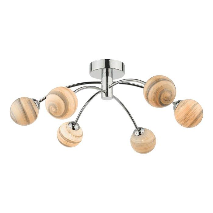 Swirl - Art Glass 6 Light Semi Flush Ceiling Light